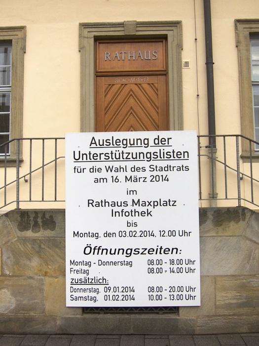 Auslegung der Unterstützungslisten. Foto: Erich Weiß