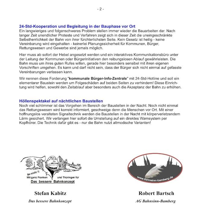 Brief an Bahnchef Grube