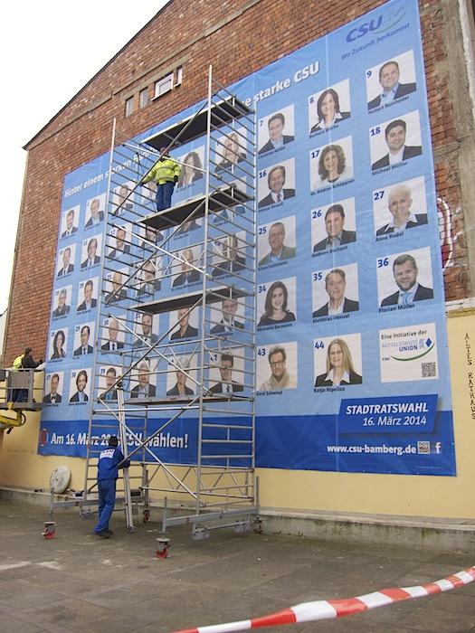 CSU Plakat an der Kettenbrücke. Foto: Erich Weiß