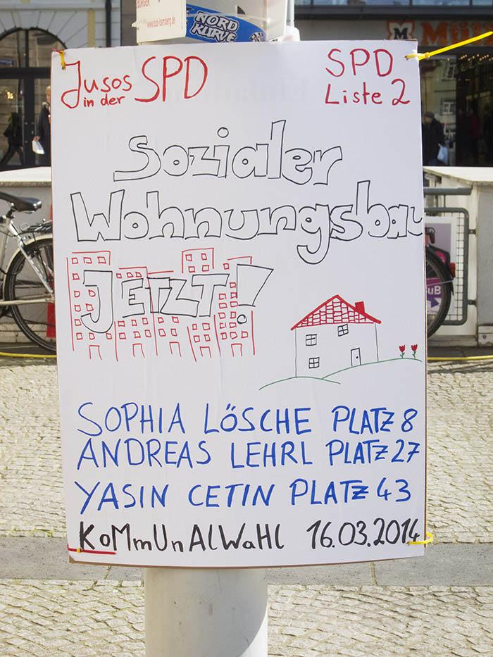 SPD Jusos Sozialer Wohnungbau JETZT. Foto: Erich Weiß