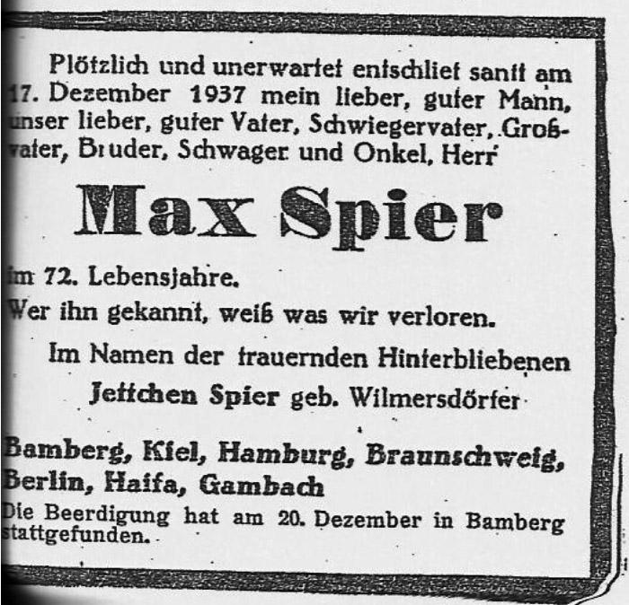 Todesanzeige für Max Spier, Bamberg, Dezember 1937 (Fotoarchiv Abraham Frank, Jerusalem)