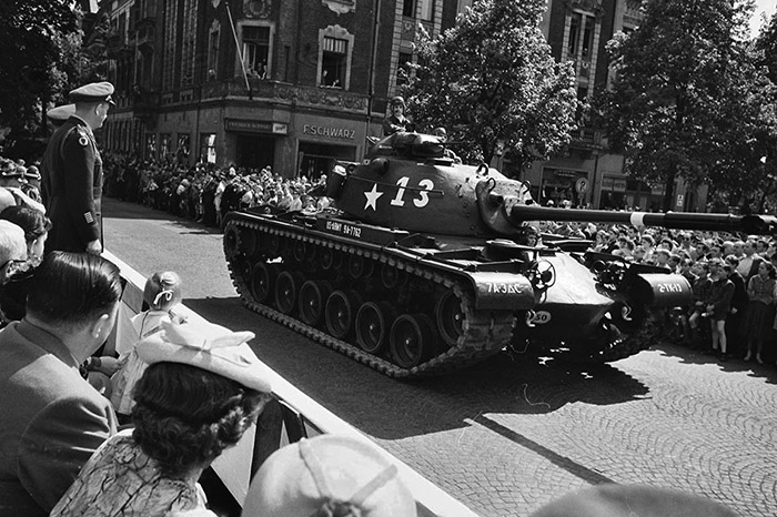 1957, Parade U.S. Army in Bamberg. Quelle: Stadtarchiv-Bamberg