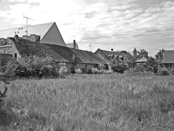 1184 Fläche der ehemaligen Mangschen Wachsbleiche von Südosten. Links ehemalige Werkstattbauten entlang der Grundstücksgrenze, im Hintergrund westlicher Pavillon (mit Mansarddach), am Horizont der Turm der Pfarrkirche St. Otto (2010. – S. 1659).
