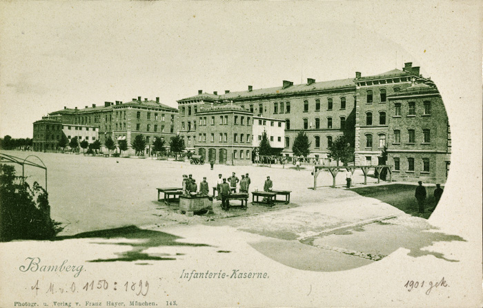 um 1900, Infanteriekaserne Kasernenhof. Quelle: Staatsbibliothek Bamberg