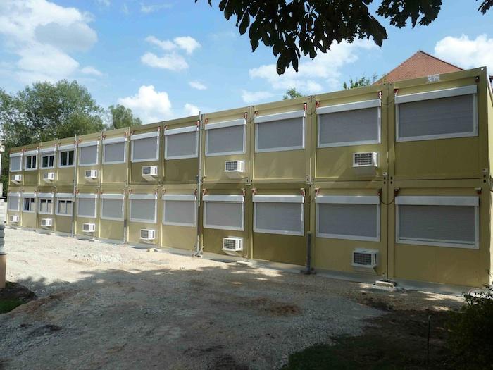 Container für Clavius-Gymnasium auf dem Gelände des Stadtarchivs. Foto: Christiane Hartleitner