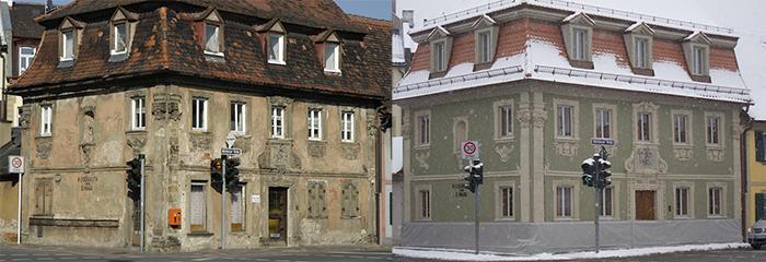 Nürnberger Str. 2, li. 2004 re. 2014. Fotos: Erich Weiß
