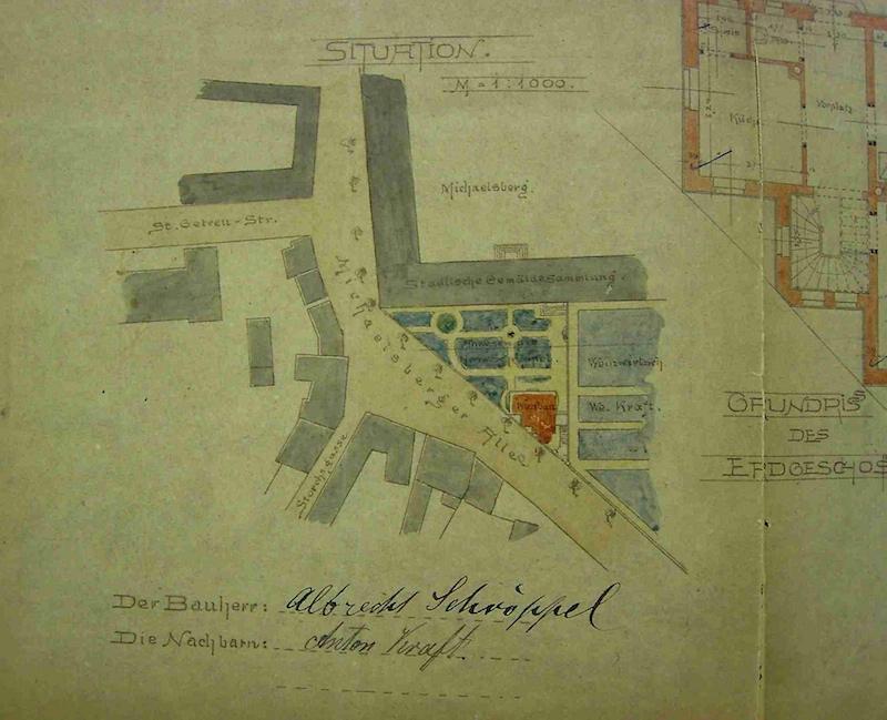 Detail aus Baueingabeplan von Gustav Haeberle von 1902