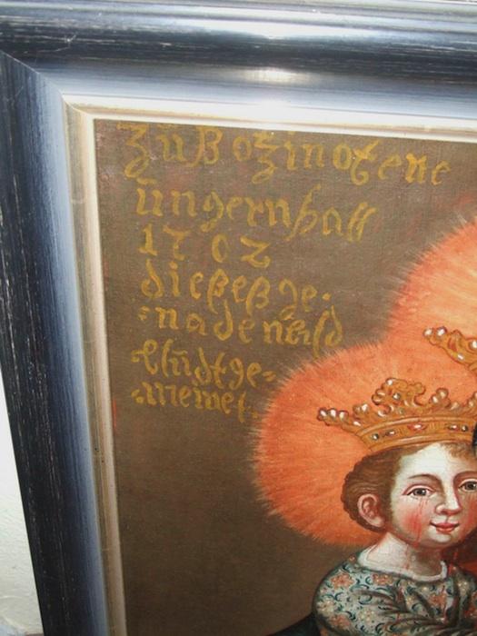 Gemälde aus dem Pfarramt Wunderburg, Detail. Foto: Polizei
