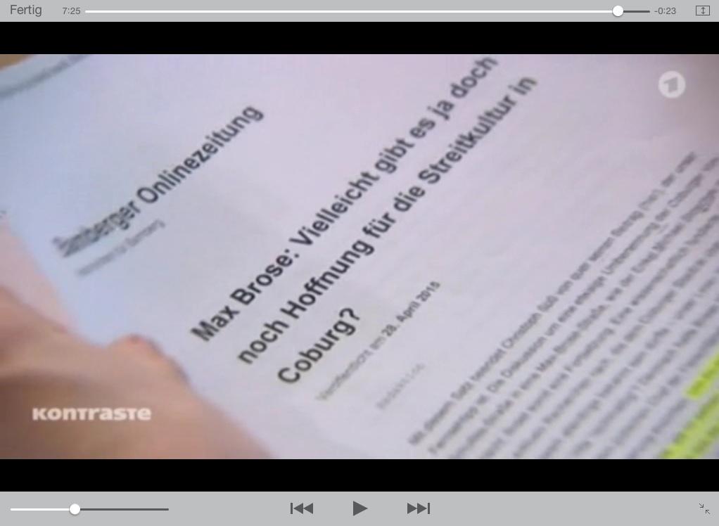 Bildschirmfoto von der ARD-Sendung Kontraste vom 7.5.2015