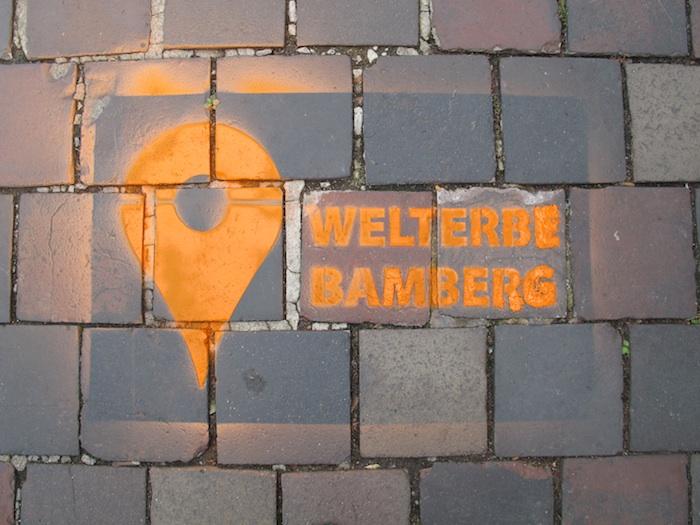 Spray-Markierung der Welterbegrenzen. Foto: Stadt Bamberg