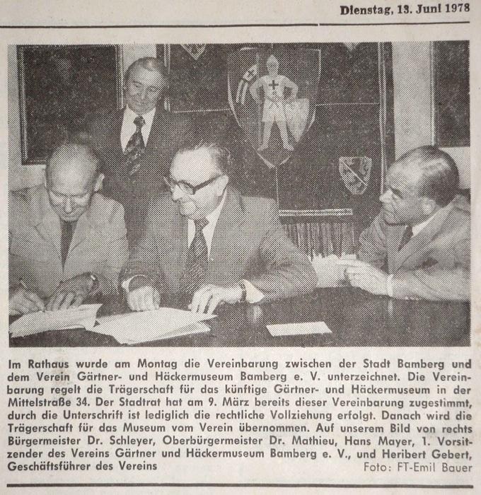 Vertragsunterzeichnung und Bericht im Fränkischen Tag vom 12. Juni 1978