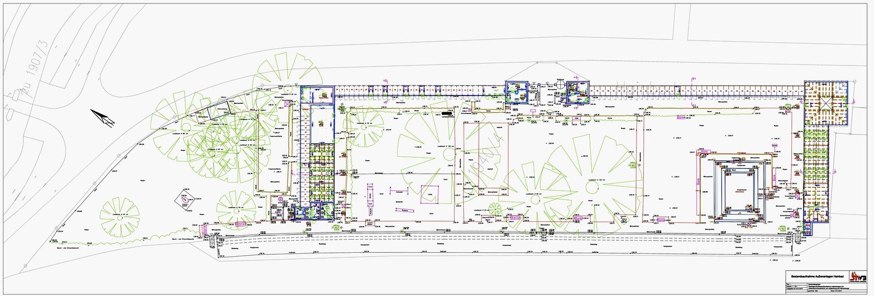 2015-10-08 Hainbad - Überlagerung Außenanlagen mit Gebäudeinnenaufnahme und Angleichung Höhenbezug