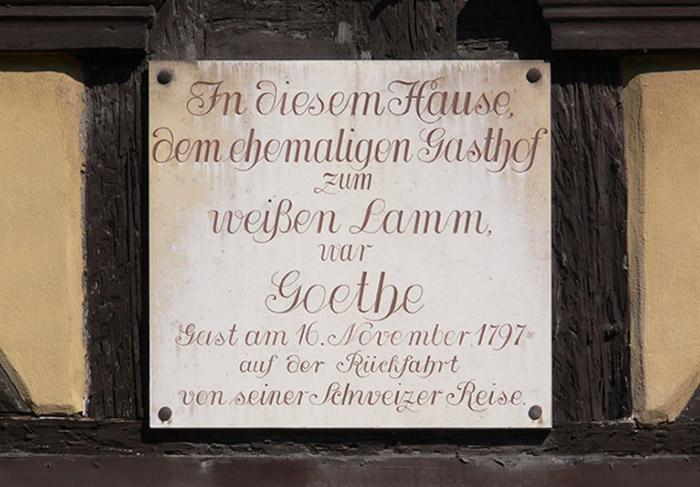Gedenktafel am Haus Goethestuben Gaststätten, Untere Königstr. 28, Bamberg. Foto: You Xie