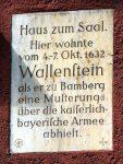 Haus zum Saal. Hier wohnte vom 4.–7. Okt. 1632 Wallenstein, als er zu Bamberg eine Musterung über die kaiserlich-bayerische Armee abhielt. Foto: You Xie