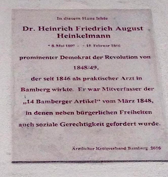 Gedenktafel in der Kapuzinerstraße 11, 96047 Bamberg. Foto: You Xie