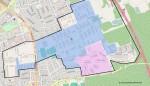 Umrandet: Die Konversionsfläche der Warner Barracks östlich und der Lagarde-Kaserne westlich des Berliner Rings, auf dem Stadtgebiet Bamberg. Rosa: Ankunfts- und Rückführungseinrichtung ARE II (geplante Endausbaustufe), blau: geplante Polizeiakademie der Bundespolizei.